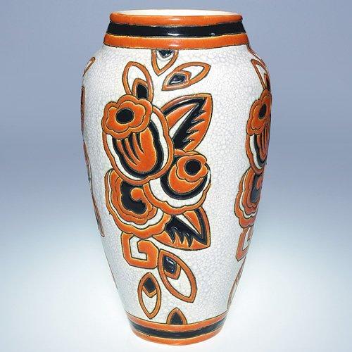 """23: Boch Freres Crackled Enamel vase, 11 5/8"""""""