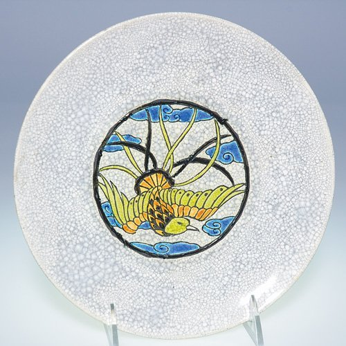 24: Boch Freres Crackled Enamel charger with bird, 8 1/