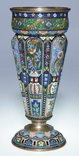 """645: Russian silver gilt & enameled chalice, 8 5/8"""""""