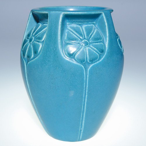 1010: Rookwood blue mat vase, flowers, 1927, 6""