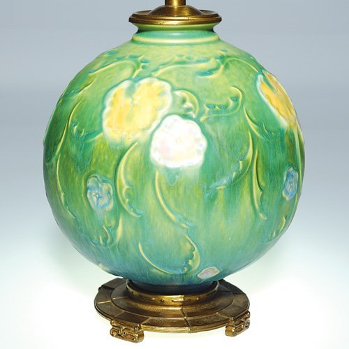 "1: Roseville lamp vase, 8"" with fittings"