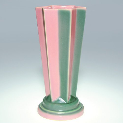 "16: Roseville Futura Pink ""Pleated Star"" vase, 385-8"""
