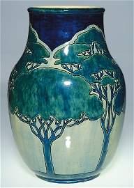 "452: Newcomb 12"" vase, Nicholson, incised-painted trees"