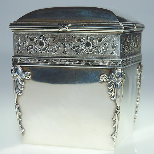 "719: Fabergé silver gilt tea caddy, 4 1/2""X3 3/4"""