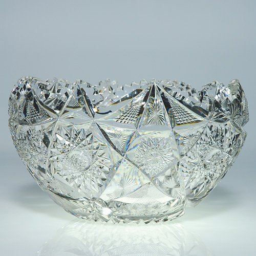"852: Cut glass punch bowl, Colonna, sgn Libbey, 14""DX 8"