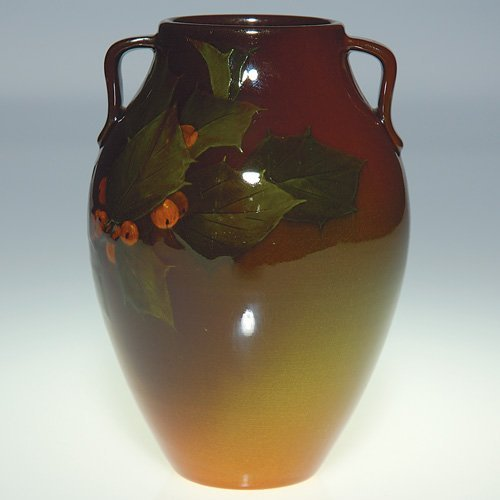 "1100: Rookwood Standard vase, holly, Sax, 1898, 5 3/4"""