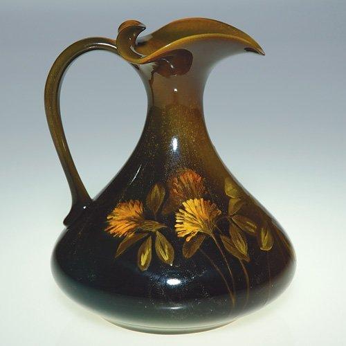 """1104: Rookwood Standard ewer, floral, Baker, 5 3/8"""""""