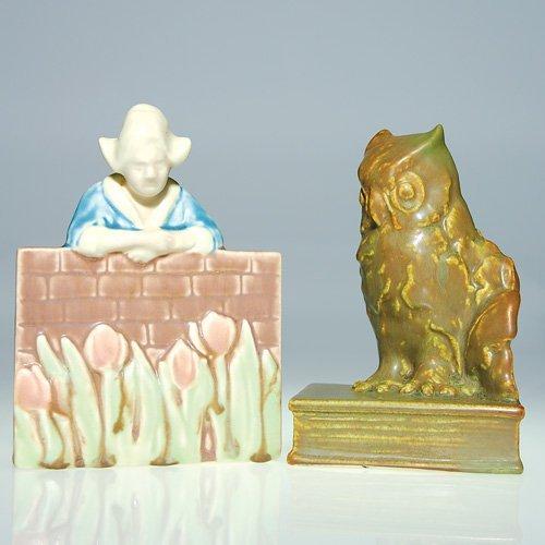 1109: Rookwood 2 bookends, Dutch Girl, Owl, 5 3/4