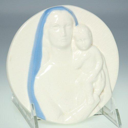 "1114: Rookwood 5"" Madonna & Child medallion, '59"