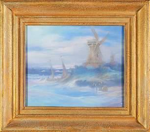 1259: Rare Rookwood Vellum plaque, FR, windmills
