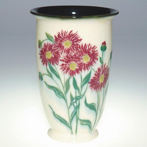 """1001: Rookwood 6 1/2"""" Design Crystal vase, ETH"""