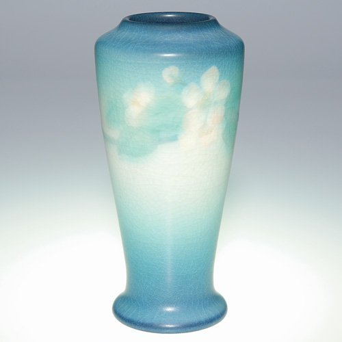 "1011: Rookwood Vellum 7"" floral vase, 1909, LNL"
