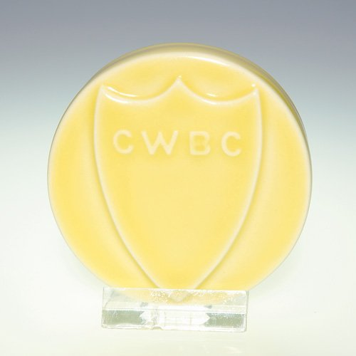 """1019: Rookwood 2 7/8"""" disc paperweight, CWBC, '49"""