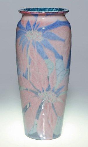 1255: Rookwood Porcelain, poinsettias, KS, 1929, 11 7/8
