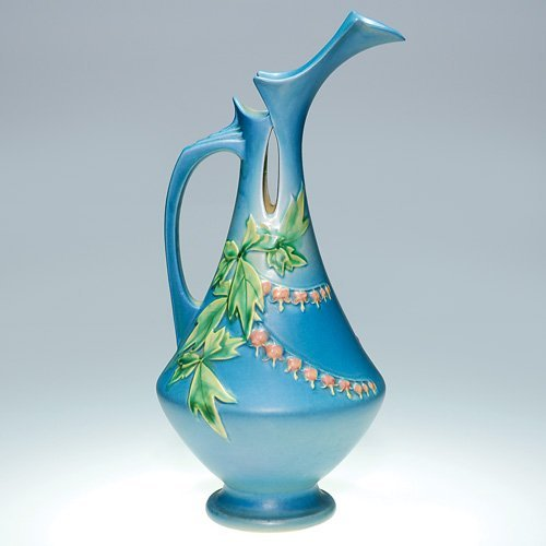 "18: Roseville Bleeding Heart pitcher 975-15"", blue"
