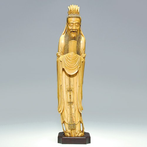 686: Carved Ivory of elder priest w/tablet, 18