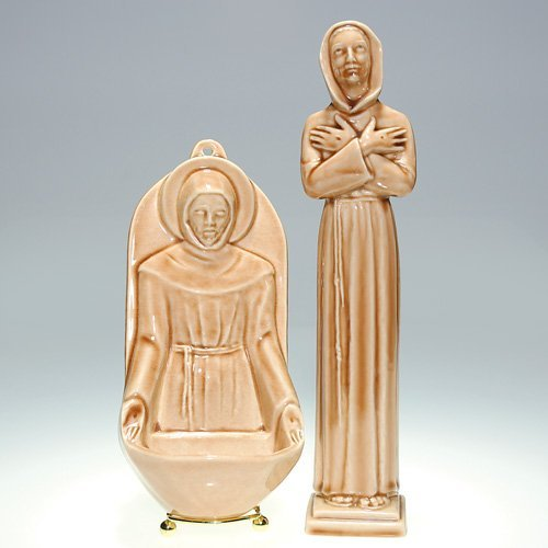 1000: Rookwood: 2 religious figures, St. Francis, Wine