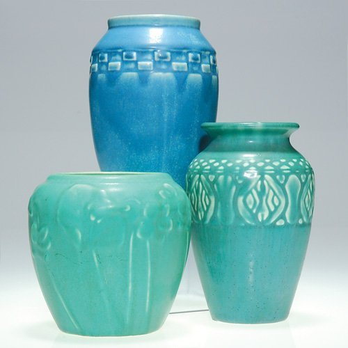"1008: Rookwood 3 production vases, mat glazes, 5"" talle"