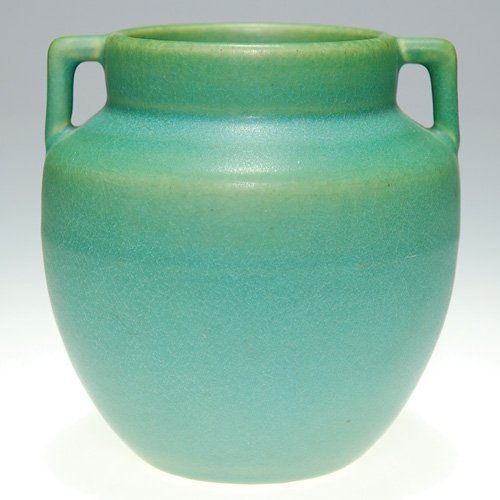 "1016: Rookwood green mat production 4 5/8"" vase, dated"