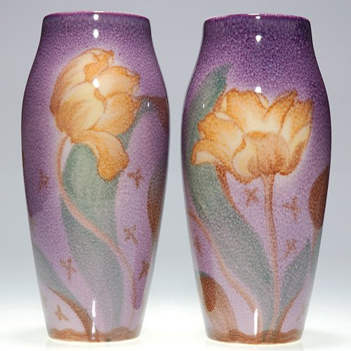 1044: Rookwood pair of Porcelain tulip vases, MHM