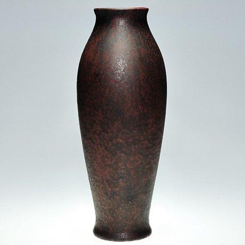 "1: Tall Roseville Pauleo vase, rust color, 16 1/8"""