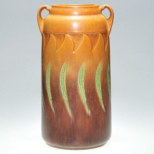"2: Roseville Falline vase in brown, shape 654-13 1/2"""