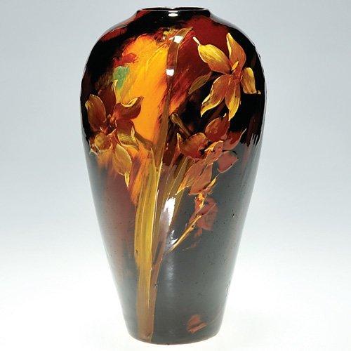 "10: Weller Aurelian 9 1/2"" vase, jonquils, Dibowski"