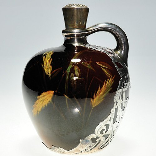 "18: Weller Louwelsa jug, silver overlay, 6 1/2"""
