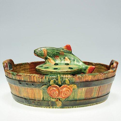 """23: Weller Woodrose bowl; Muskota fish, 3 3/8"""""""