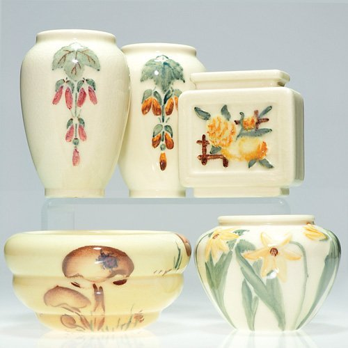 800: Rookwood: Lot of 4 vases & 1 bowl, all decorated