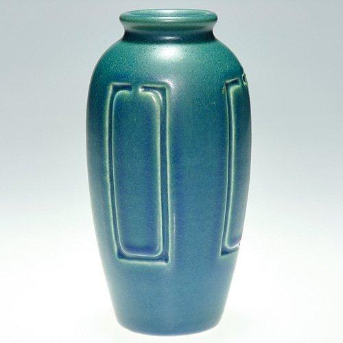 "805: Rookwood blue mat production vase, 1917, 5 3/4"""