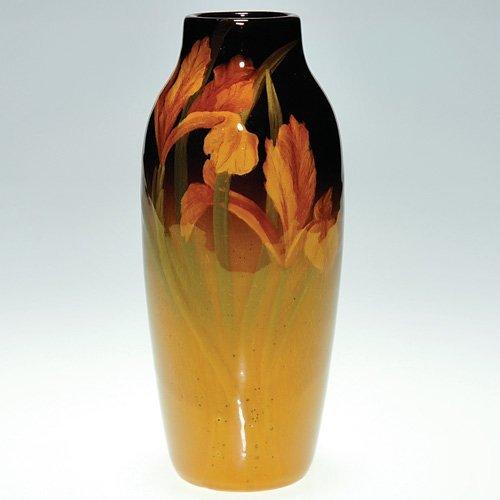 "812: Rookwood Standard 7 1/4"" vase, irises, L.V.B."