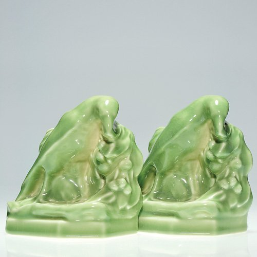 817: Rookwood Rook bookends, #2275, glossy green, 1944