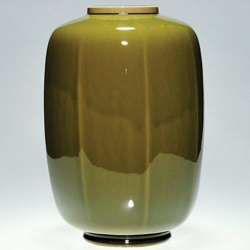 "818: Rookwood 12 1/8"" lamp vase, 1950, glossy green"