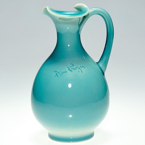 """819: Rookwood blue pitcher incised """"Ann Kroger"""", REM"""