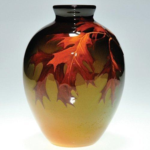 """917: Rookwood Standard 7"""" vase, leaves, Nourse"""