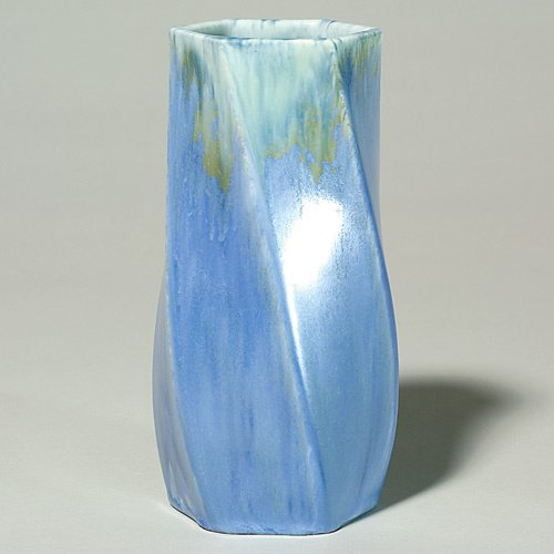 22: Roseville Tourmaline vase, blue with drip, shape A