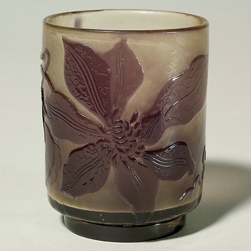 "614: Galle' fire polished,cameo,  clematis, 4"", polishe"
