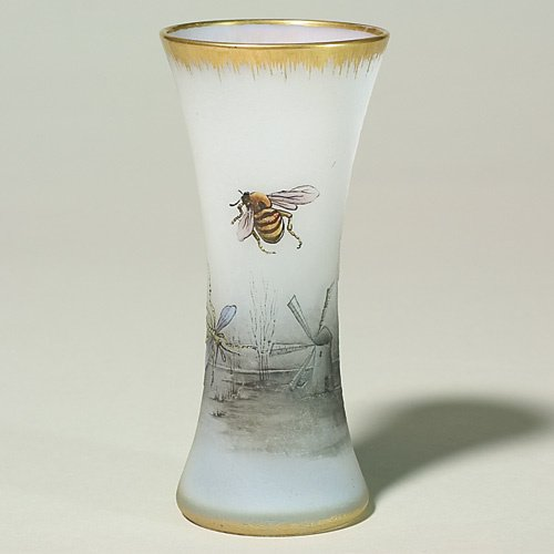 618: Daum Nancy vase, cameo & enamel insects, landscape