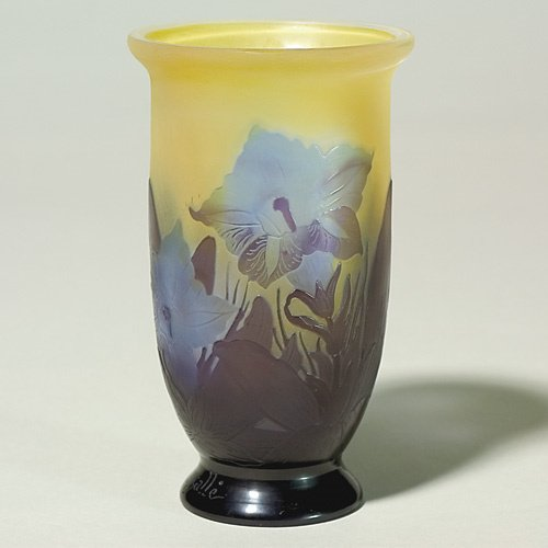 619: Galle' cameo vase, footed, floral, signed, 5 1/4""
