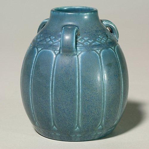 1000: Rookwood 3 handle production vase, blue mat, 1928