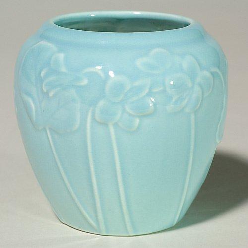 """1002: Rookwood blue production vase, 4"""", 1950, violets"""