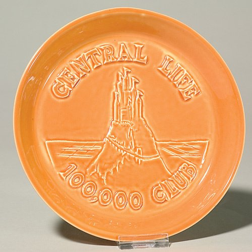 """1004: Rookwood tray, Central Life 100,000 Club, 1963,1"""""""