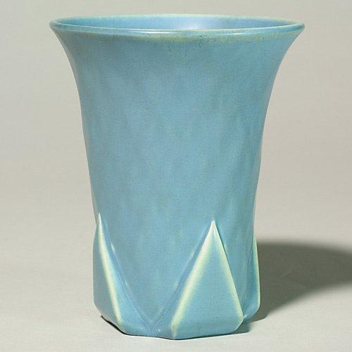"1006: Rookwood production vase, blue mat, 7"", 1931."