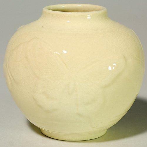 1015: Rookwood production vase, butterflies, 1946, 6509