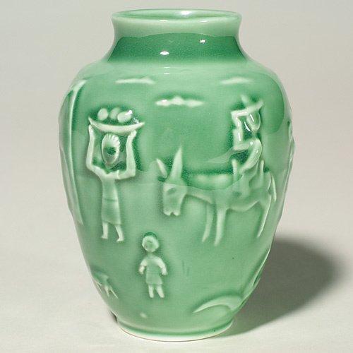 1017: Rookwood production vase, Southwest Village 1954,