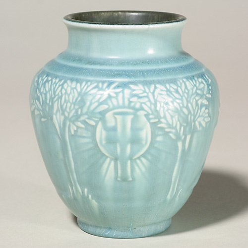 "1020: Rookwood Commercial vase,Catholic Charities, 5"""