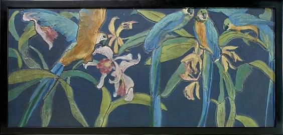 1263: Rookwood Architectural Faience tile set, parrots,