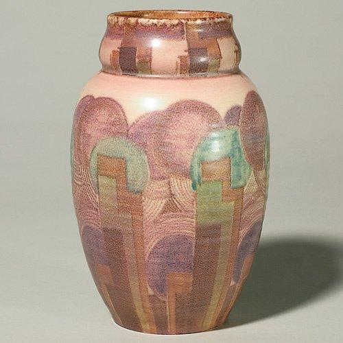 1325: Rookwood mat 9 3/8 vase, Epply, 1931 deco designs
