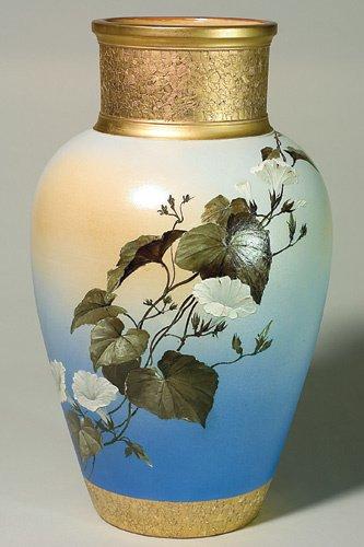 "1425: Rookwood 20"" vase, Morning Glories, Daly, 1886"